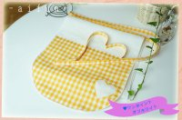 ハートオレンジワンポイント×オフホワイト(リネン100%)【女性用】前垂れ丸デザインタイプ
